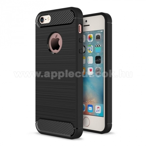 APPLE IPhone 5SOTT! CARBON szilikon védő tok / hátlap - szálcsiszolt mintázatú - FEKETE - ERŐS VÉDELEM! - Apple IPhone SE / Apple IPhone 5 / Apple IPhone 5S