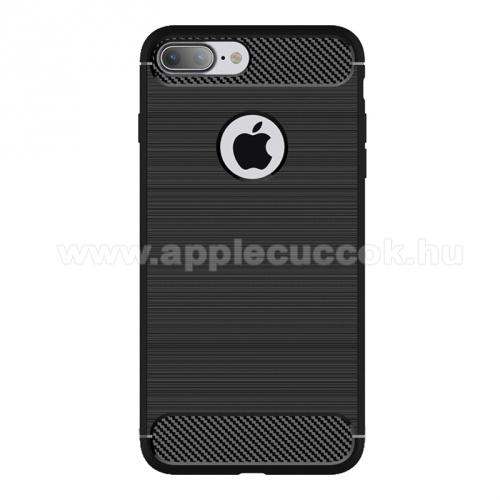 APPLE iPhone 7 PlusOTT! CARBON szilikon védő tok / hátlap - szálcsiszolt mintázatú - FEKETE - ERŐS VÉDELEM! - APPLE iPhone 7 Plus (5.5) / APPLE iPhone 8 Plus (5.5)