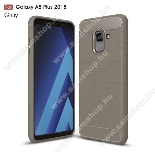 OTT! CARBON szilikon védő tok / hátlap - SZÜRKE - karbon mintás, ERŐS VÉDELEM! - SAMSUNG SM-A730F Galaxy A8 Plus (2018)