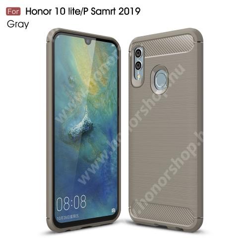 HUAWEI Honor 10 LiteOTT! CARBON szilikon védő tok / hátlap - SZÜRKE - karbon mintás, ERŐS VÉDELEM! - HUAWEI P Smart (2019) / HUAWEI Honor 10 Lite