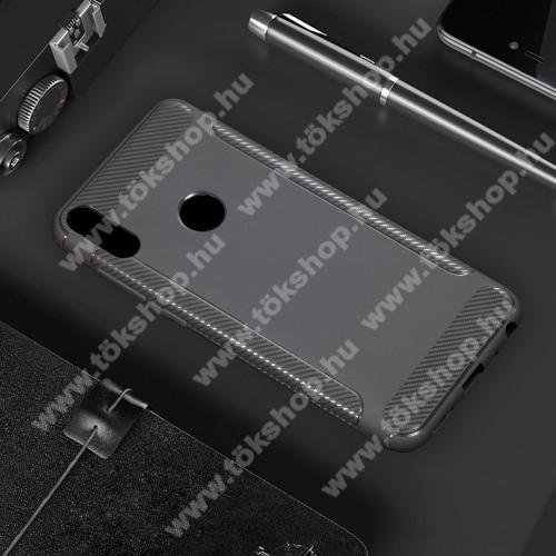 OTT! CARBON szilikon védő tok / hátlap - SZÜRKE - matt, karbon mintás, ERŐS VÉDELEM! - ASUS Zenfone Max Pro (M2) (ZB631KL)