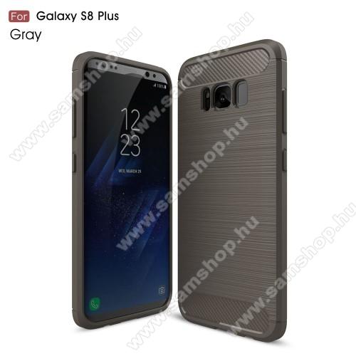OTT! CARBON szilikon védő tok / hátlap - SZÜRKE - karbon mintás, ERŐS VÉDELEM! - SAMSUNG SM-G955 Galaxy S8 Plus