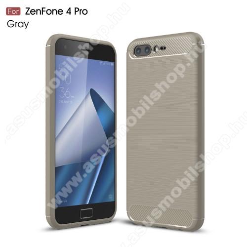 OTT! CARBON szilikon védő tok / hátlap - SZÜRKE - karbon mintás, ERŐS VÉDELEM! - ASUS Zenfone 4 Pro (ZS551KL)