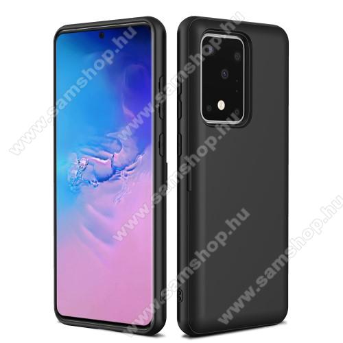 OTT! CARD PRO műanyag védő tok / hátlap - FEKETE - szilikon betétes, bankkártya tartó, beépített fémlap mágneses autós tartóhoz - ERŐS VÉDELEM! - SAMSUNG Galaxy S20 Ultra (SM-G988F) / SAMSUNG Galaxy S20 Ultra 5G (SM-G988)