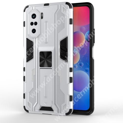 OTT! COMBO műanyag védő tok / hátlap - EZÜST - szilikon betétes, asztali tartó funkciós, tapadófelület mágneses autós tartóhoz, ERŐS VÉDELEM! - Xiaomi Redmi K40 / Redmi K40 Pro / Redmi K40 Pro Plus / Mi 11i / Poco F3