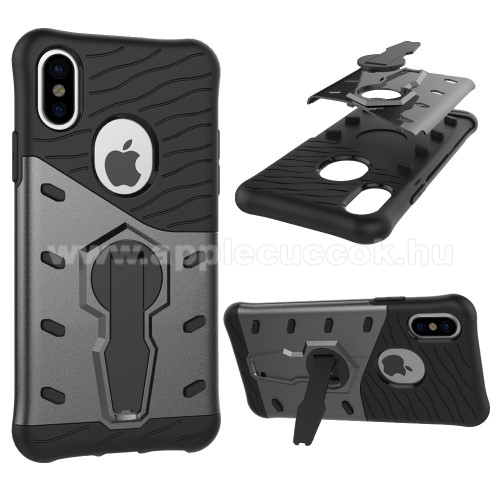 APPLE iPhone XS OTT! COOL ARMOR m?anyag v�d? tok / h�tlap - FEKETE / SZ�RKE - szilikon bet�tes, kit�maszthat�, ER?S V�DELEM! - APPLE iPhone X / APPLE iPhone XS