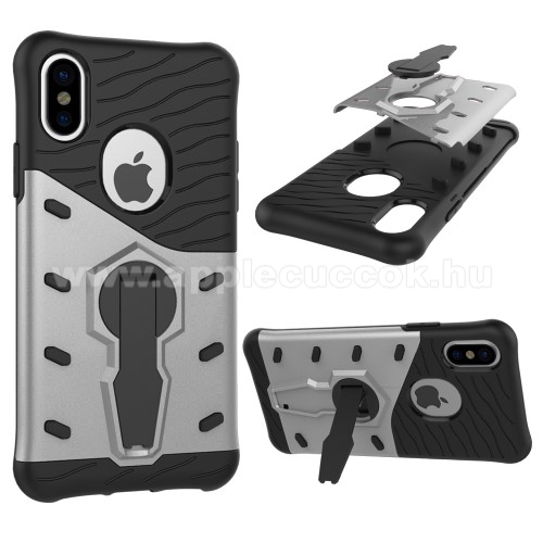 APPLE iPhone XS OTT! COOL ARMOR m?anyag v�d? tok / h�tlap - FEKETE / EZ�ST - szilikon bet�tes, kit�maszthat�, ER?S V�DELEM! - APPLE iPhone X / APPLE iPhone XS