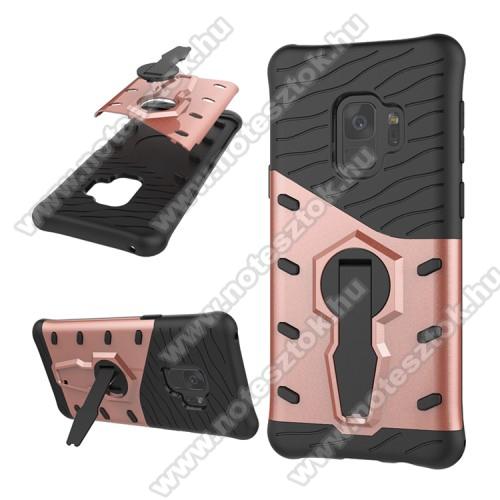 OTT! COOL ARMOR műanyag védő tok / hátlap - FEKETE / ROSE GOLD - szilikon betétes, kitámasztható, ERŐS VÉDELEM! - SAMSUNG SM-G960 Galaxy S9