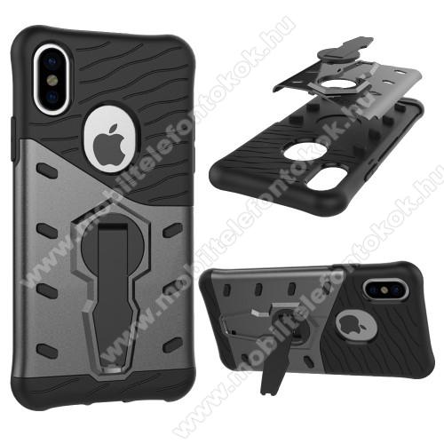 APPLE iPhone XSOTT! COOL ARMOR műanyag védő tok / hátlap - FEKETE / SZÜRKE - szilikon betétes, kitámasztható, ERŐS VÉDELEM! - APPLE iPhone X / APPLE iPhone XS