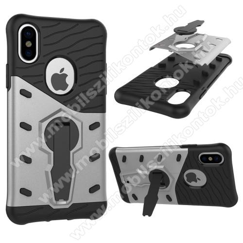 OTT! COOL ARMOR műanyag védő tok / hátlap - FEKETE / EZÜST - szilikon betétes, kitámasztható, ERŐS VÉDELEM! - APPLE iPhone X / APPLE iPhone XS