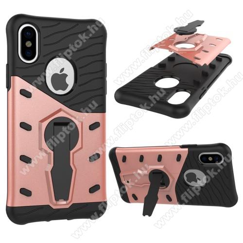 OTT! COOL ARMOR műanyag védő tok / hátlap - FEKETE / ROSE GOLD - szilikon betétes, kitámasztható, ERŐS VÉDELEM! - APPLE iPhone X / APPLE iPhone XS