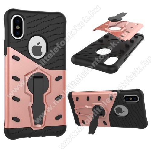 APPLE iPhone XSOTT! COOL ARMOR műanyag védő tok / hátlap - FEKETE / ROSE GOLD - szilikon betétes, kitámasztható, ERŐS VÉDELEM! - APPLE iPhone X / APPLE iPhone XS