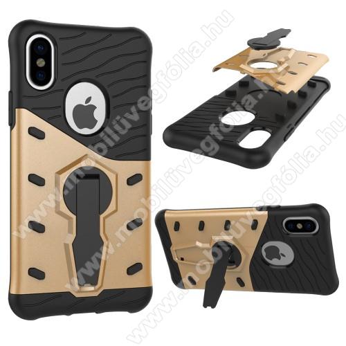 OTT! COOL ARMOR műanyag védő tok / hátlap - FEKETE / ARANY - szilikon betétes, kitámasztható, ERŐS VÉDELEM! - APPLE iPhone X / APPLE iPhone XS