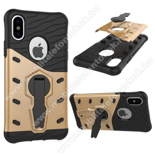 APPLE iPhone XSOTT! COOL ARMOR műanyag védő tok / hátlap - FEKETE / ARANY - szilikon betétes, kitámasztható, ERŐS VÉDELEM! - APPLE iPhone X / APPLE iPhone XS