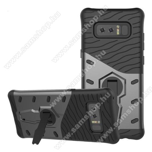 OTT! COOL ARMOR műanyag védő tok / hátlap - SZÜRKE - szilikon betétes, kitámasztható, ERŐS VÉDELEM! - SAMSUNG SM-N950F Galaxy Note8