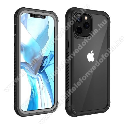 OTT! FULL COVERAGE műanyag védő tok / átlátszó hátlap - FEKETE - szilikon belső, PET előlapvédő, 360°-os védelem, vezeték nélküli töltés támogatás, erősített sarkok, ERŐS VÉDELEM! - APPLE iPhone 12 Pro Max