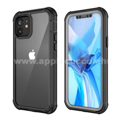 OTT! FULL COVERAGE műanyag védő tok / átlátszó hátlap - FEKETE - szilikon belső, PET előlapvédő, 360°-os védelem, vezeték nélküli töltés támogatás, erősített sarkok, ERŐS VÉDELEM! - APPLE iPhone 12 / APPLE iPhone 12 Pro