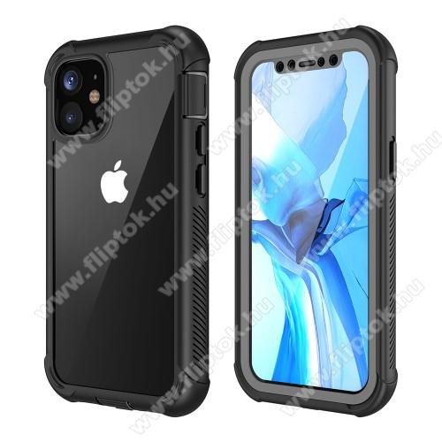 OTT! FULL COVERAGE műanyag védő tok / átlátszó hátlap - FEKETE - szilikon belső, PET előlapvédő, 360°-os védelem, vezeték nélküli töltés támogatás, erősített sarkok, ERŐS VÉDELEM! - APPLE iPhone 12 mini