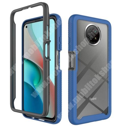 OTT! FULL DEFENDER műanyag védő tok / átlátszó hátlap - SÖTÉTKÉK - két rétegből áll, szilikon belső, erősített sarkok, ERŐS VÉDELEM! - Xiaomi Redmi Note 9T 5G / Redmi Note 9 5G