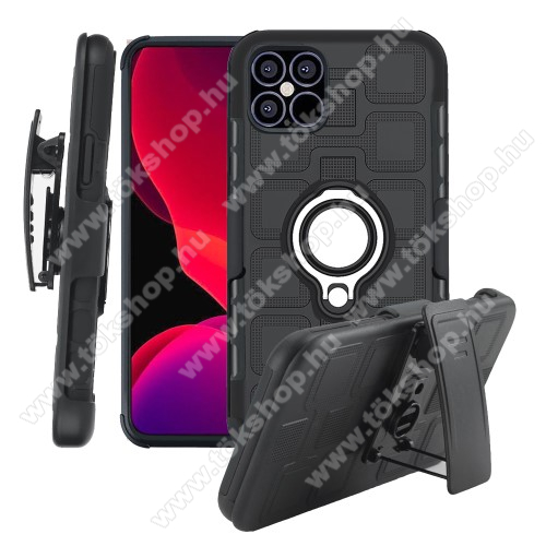 OTT! GEOMETRIC műanyag védő tok / hátlap - FEKETE - szilikon betétes, fém ujjgyűrű, tapadófelület mágneses autós tartóhoz, asztali tartó funkció, rátehető övcsipesz, ERŐS VÉDELEM! - APPLE iPhone 12 / APPLE iPhone 12 Pro