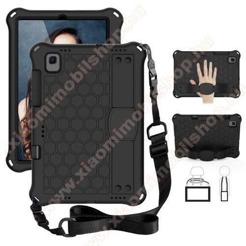 OTT! HONEYCOMB EVA habszivacs védő tok / hátlap - kitámasztható, kézpánt, vállpánt, erősített sarkok - ERŐS VÉDELEM! - FEKETE - SAMSUNG Galaxy Tab A7 10.4 (2020) (SM-T500/SM-T505)