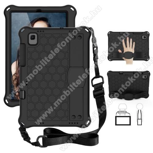 OTT! HONEYCOMB EVA habszivacs védő tok / hátlap - kitámasztható, kézpánt, vállápánt, erősített sarkok - ERŐS VÉDELEM! - FEKETE - SAMSUNG Galaxy Tab A7 10.4 (2020) (SM-T500/SM-T505)