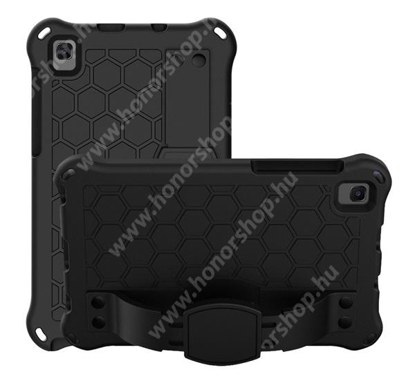 OTT! HONEYCOMB EVA habszivacs védő tok / hátlap - kitámasztható, kézpánt, erősített sarkok - ERŐS VÉDELEM! - FEKETE - SAMSUNG Galaxy Tab A7 Lite (SM-T220 / SM-T225)