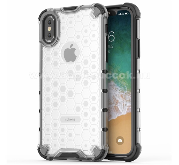 APPLE iPhone XS OTT! HONEYCOMB m?anyag v�d? tok / h�tlap - FEH�R - szilikon bels?, er?s�tett sarkok, m�hsejt mint�s, logo kiv�g�s, ER?S V�DELEM! - APPLE iPhone X / APPLE iPhone XS