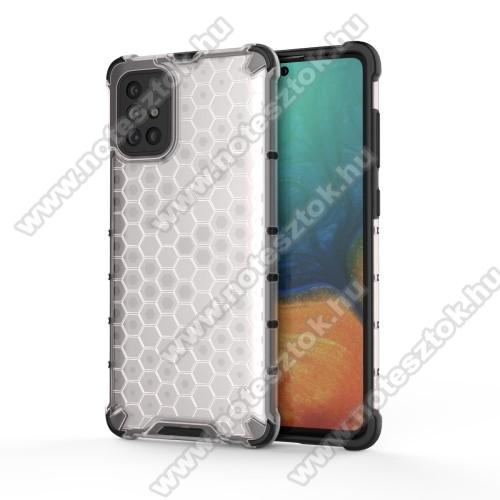 OTT! HONEYCOMB műanyag védő tok / hátlap - FEHÉR - szilikon belső, erősített sarkok, méhsejt mintás, ERŐS VÉDELEM! - SAMSUNG SM-A715F Galaxy A71
