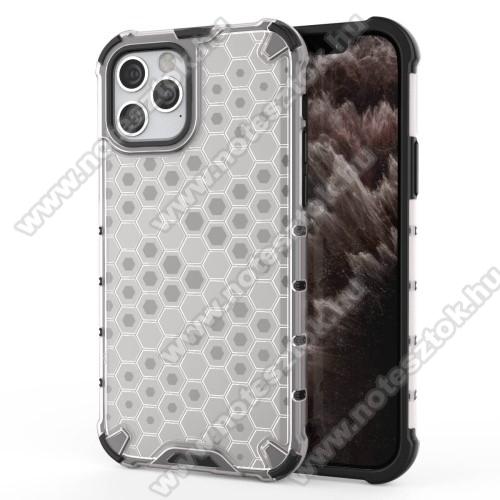 OTT! HONEYCOMB műanyag védő tok / hátlap - FEHÉR - szilikon belső, erősített sarkok, méhsejt mintás, ERŐS VÉDELEM! - APPLE iPhone 12 / APPLE iPhone 12 Pro