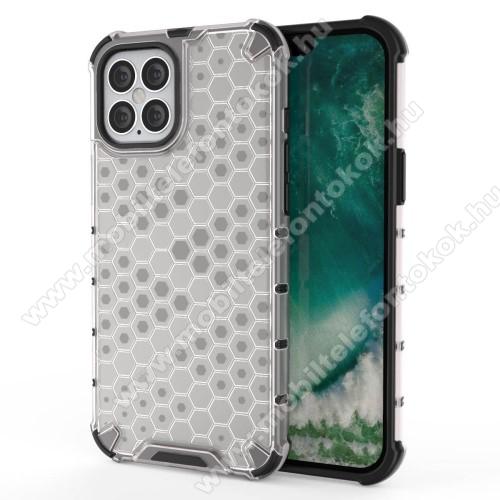 OTT! HONEYCOMB műanyag védő tok / hátlap - FEHÉR - szilikon belső, erősített sarkok, méhsejt mintás, ERŐS VÉDELEM! - APPLE iPhone 12 Pro Max