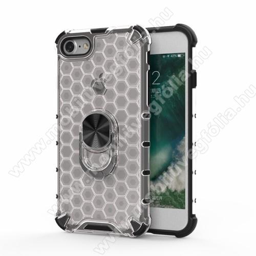OTT! HONEYCOMB RING műanyag védő tok / hátlap - ÁTTETSZŐ - szilikon betétes, kitámasztható, fém ujjgyűrűvel, tapadófelület mágneses autós tartóhoz, méhsejt mintás, ERŐS VÉDELEM! - APPLE iPhone SE (2020) / APPLE iPhone 7 / APPLE iPhone 8