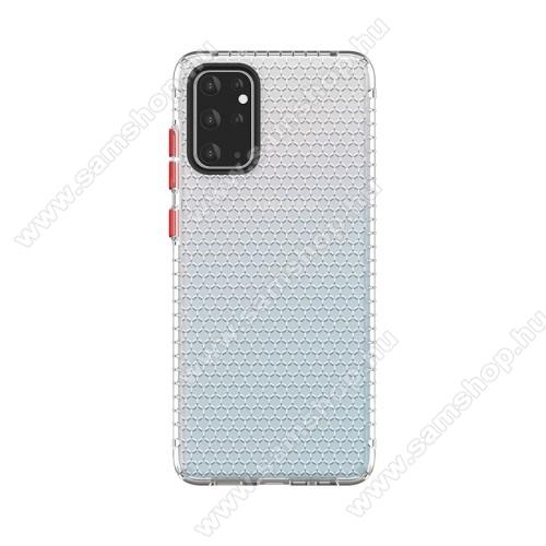 OTT! HONEYCOMB TRANSPARENT szilikon védő tok / hátlap - ÁTLÁTSZÓ - légpárnás sarkok, méhsejt mintás, ERŐS VÉDELEM! - SAMSUNG Galaxy S20 Ultra (SM-G988F) / SAMSUNG Galaxy S20 Ultra 5G (SM-G988)