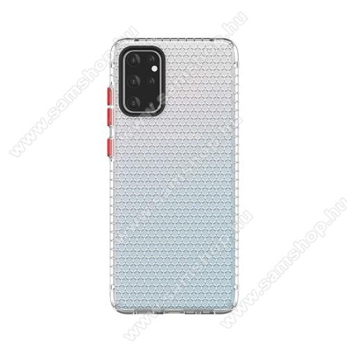 OTT! HONEYCOMB TRANSPARENT szilikon védő tok / hátlap - ÁTLÁTSZÓ - légpárnás sarkok, méhsejt mintás, ERŐS VÉDELEM! - SAMSUNG Galaxy S20 Plus (SM-G985F) / SAMSUNG Galaxy S20 Plus 5G (SM-G986)