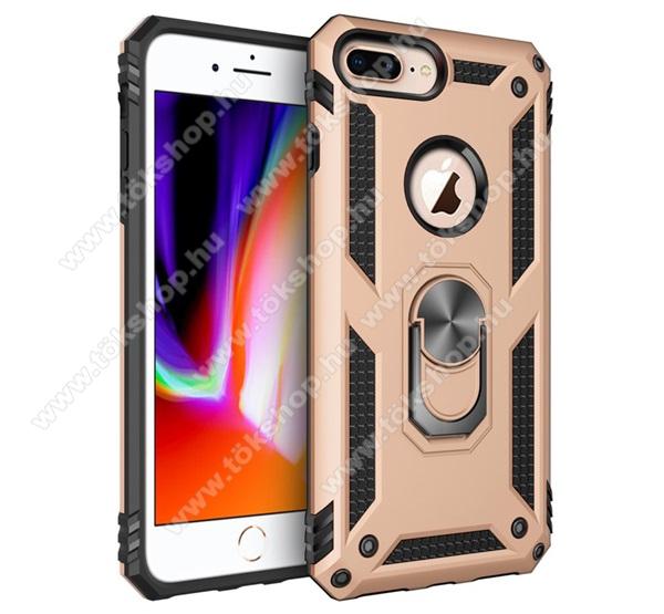 OTT! HYBRID ARMOR műanyag védő tok / hátlap - ARANY - szilikon betétes, kitámasztható, fém ujjgyűrűvel, tapadófelület mágneses autós tartóhoz - ERŐS VÉDELEM! - Apple iPhone 6 Plus / APPLE iPhone 7 Plus / APPLE iPhone 8 Plus