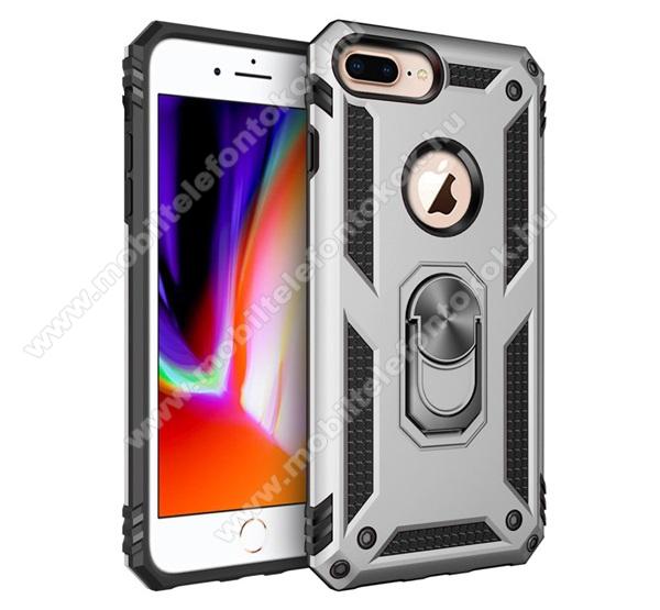 OTT! HYBRID ARMOR műanyag védő tok / hátlap - EZÜST - szilikon betétes, kitámasztható, fém ujjgyűrűvel, tapadófelület mágneses autós tartóhoz - ERŐS VÉDELEM! - Apple iPhone 6 Plus / APPLE iPhone 7 Plus / APPLE iPhone 8 Plus