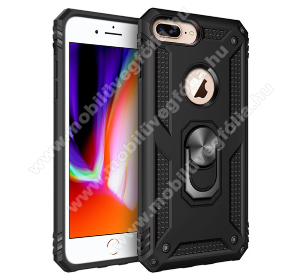 OTT! HYBRID ARMOR műanyag védő tok / hátlap - FEKETE - szilikon betétes, kitámasztható, fém ujjgyűrűvel, tapadófelület mágneses autós tartóhoz - ERŐS VÉDELEM! - Apple iPhone 6 Plus / APPLE iPhone 7 Plus / APPLE iPhone 8 Plus