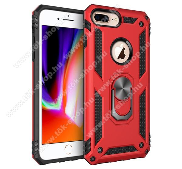 OTT! HYBRID ARMOR műanyag védő tok / hátlap - PIROS - szilikon betétes, kitámasztható, fém ujjgyűrűvel, tapadófelület mágneses autós tartóhoz - ERŐS VÉDELEM! - Apple iPhone 6 Plus / APPLE iPhone 7 Plus / APPLE iPhone 8 Plus