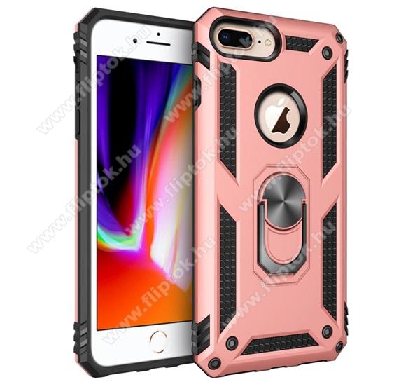 OTT! HYBRID ARMOR műanyag védő tok / hátlap - ROSE GOLD - szilikon betétes, kitámasztható, fém ujjgyűrűvel, tapadófelület mágneses autós tartóhoz - ERŐS VÉDELEM! - Apple iPhone 6 Plus / APPLE iPhone 7 Plus / APPLE iPhone 8 Plus