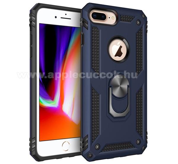 OTT! HYBRID ARMOR műanyag védő tok / hátlap - SÖTÉTKÉK - szilikon betétes, kitámasztható, fém ujjgyűrűvel, tapadófelület mágneses autós tartóhoz - ERŐS VÉDELEM! - Apple iPhone 6 Plus / APPLE iPhone 7 Plus / APPLE iPhone 8 Plus