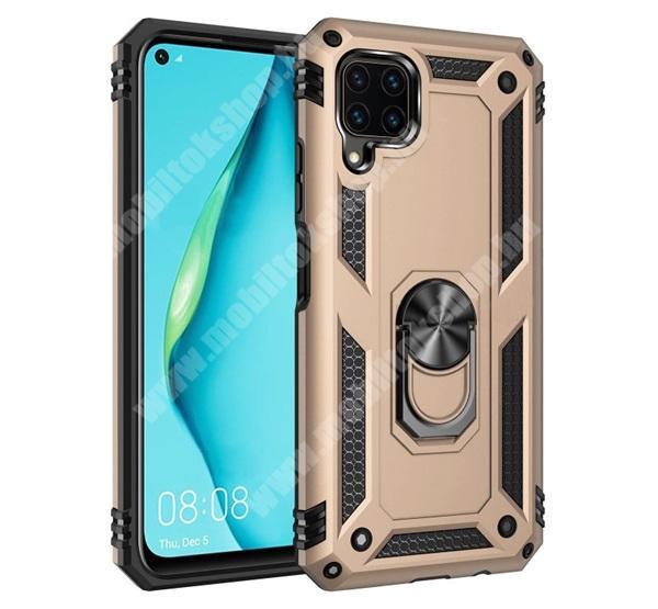 OTT! HYBRID ARMOR műanyag védő tok / hátlap - ARANY - szilikon betétes, kitámasztható, fém ujjgyűrűvel, tapadófelület mágneses autós tartóhoz - ERŐS VÉDELEM! - HUAWEI P40 Lite / Huawei Nova 7i / Huawei nova 6 SE