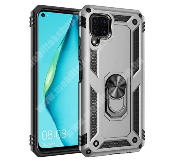 OTT! HYBRID ARMOR műanyag védő tok / hátlap - EZÜST - szilikon betétes, kitámasztható, fém ujjgyűrűvel, tapadófelület mágneses autós tartóhoz - ERŐS VÉDELEM! - HUAWEI P40 Lite / Huawei Nova 7i / Huawei nova 6 SE
