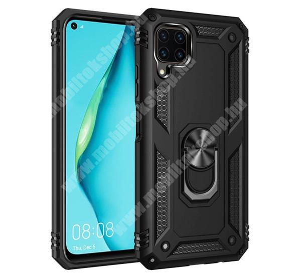 OTT! HYBRID ARMOR műanyag védő tok / hátlap - FEKETE - szilikon betétes, kitámasztható, fém ujjgyűrűvel, tapadófelület mágneses autós tartóhoz - ERŐS VÉDELEM! - HUAWEI P40 Lite / Huawei Nova 7i / Huawei nova 6 SE