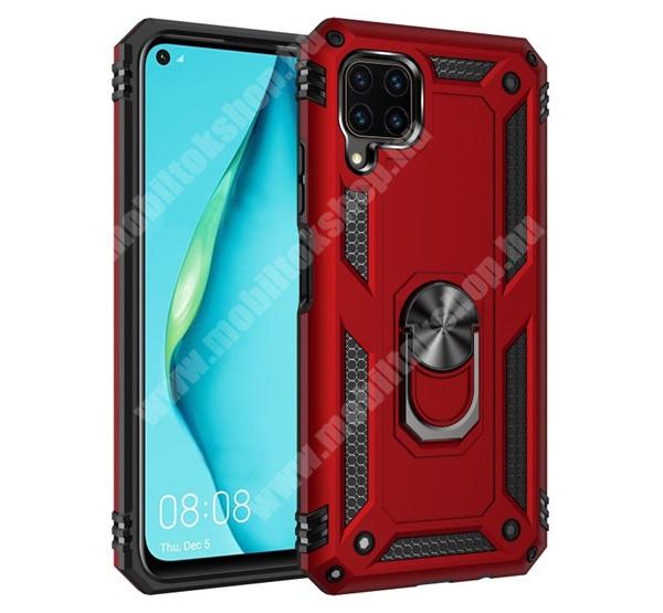 OTT! HYBRID ARMOR műanyag védő tok / hátlap - PIROS - szilikon betétes, kitámasztható, fém ujjgyűrűvel, tapadófelület mágneses autós tartóhoz - ERŐS VÉDELEM! - HUAWEI P40 Lite / Huawei Nova 7i / Huawei nova 6 SE