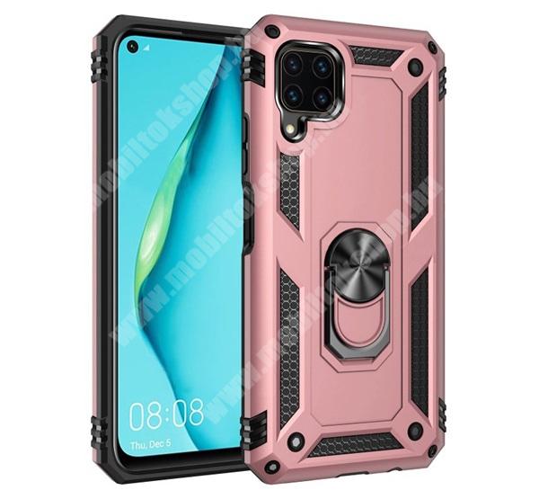 OTT! HYBRID ARMOR műanyag védő tok / hátlap - ROSE GOLD - szilikon betétes, kitámasztható, fém ujjgyűrűvel, tapadófelület mágneses autós tartóhoz - ERŐS VÉDELEM! - HUAWEI P40 Lite / Huawei Nova 7i / Huawei nova 6 SE