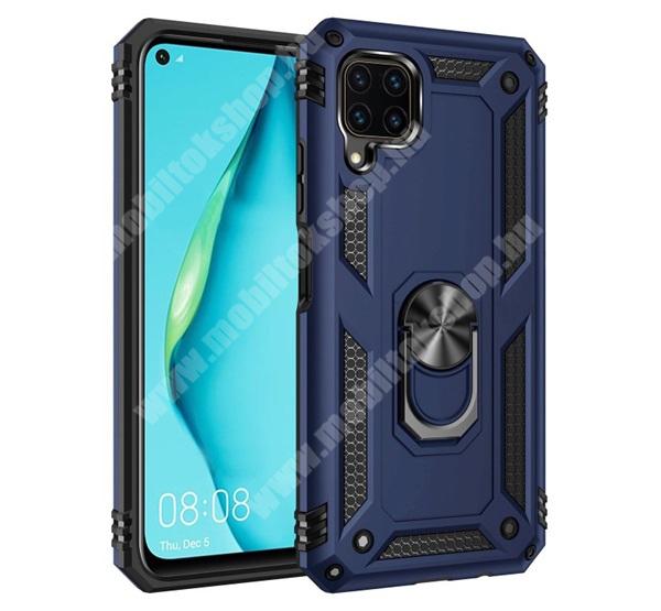 OTT! HYBRID ARMOR műanyag védő tok / hátlap - SÖTÉTKÉK - szilikon betétes, kitámasztható, fém ujjgyűrűvel, tapadófelület mágneses autós tartóhoz - ERŐS VÉDELEM! - HUAWEI P40 Lite / Huawei Nova 7i / Huawei nova 6 SE