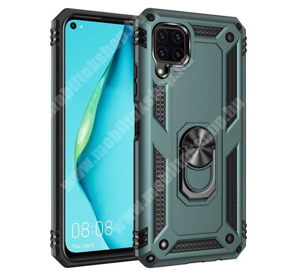 OTT! HYBRID ARMOR műanyag védő tok / hátlap - ZÖLD - szilikon betétes, kitámasztható, fém ujjgyűrűvel, tapadófelület mágneses autós tartóhoz - ERŐS VÉDELEM! - HUAWEI P40 Lite / Huawei Nova 7i / Huawei nova 6 SE