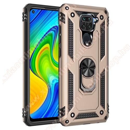 OTT! HYBRID ARMOR műanyag védő tok / hátlap - ARANY - szilikon betétes, kitámasztható, fém ujjgyűrűvel, tapadófelület mágneses autós tartóhoz - ERŐS VÉDELEM! - Xiaomi Redmi Note 9 / Xiaomi Redmi 10X 4G