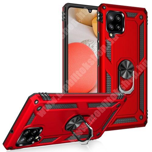 OTT! HYBRID ARMOR műanyag védő tok / hátlap - PIROS - szilikon betétes, kitámasztható, fém ujjgyűrűvel, tapadófelület mágneses autós tartóhoz - ERŐS VÉDELEM! - SAMSUNG Galaxy A42 5G (SM-A425F)
