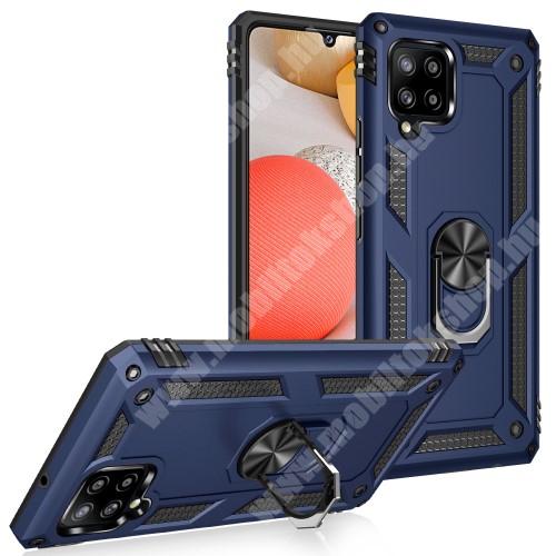 OTT! HYBRID ARMOR műanyag védő tok / hátlap - SÖTÉTKÉK - szilikon betétes, kitámasztható, fém ujjgyűrűvel, tapadófelület mágneses autós tartóhoz - ERŐS VÉDELEM! - SAMSUNG Galaxy A42 5G (SM-A425F)